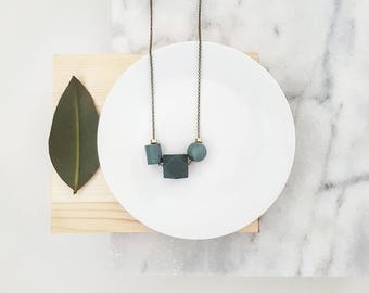 Isla Necklace |  Geometric trio  |  Shades of turqoiuse