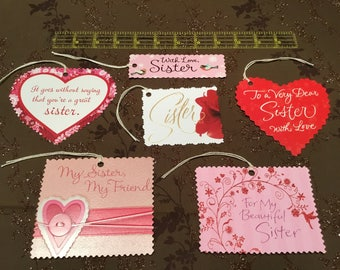 Lot of 6 New Handmade SISTER gift present tags