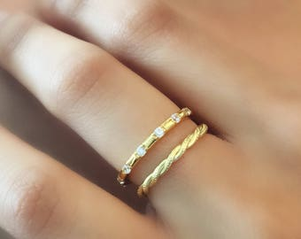 Thin Twisted Ring. Gold Adjustable Ring. Rope Ring. Sterling Silver Open Ring. Minimalist Jewelry. Stacking Ring. Dainty Gold Ring
