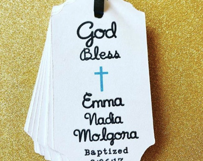 Custom Name Baby shower baptism with cross, baptism tags, tags, gift tags, favor tags, thank you tags, party favors, bridal shower, baby