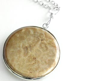 Brown Fossil Coral Necklace, Round Fossilized Pendant, Science Nerd Jewelry