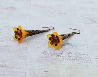SALE - Orange Bell Flower Earrings, Vintage Inspired Lucite Flower Earrings