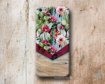 Cactus Chevron Wood print Phone Case for iPhone 4 4s 5 5s SE 5C 6 6S 7 8 PLUS X iPod Touch 5 6 Oneplus 2 3 5 1+2 1+3 1+5