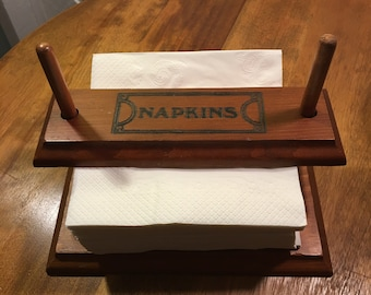 Vintage MCM Mid Century Wood Wooden Napkin Holder