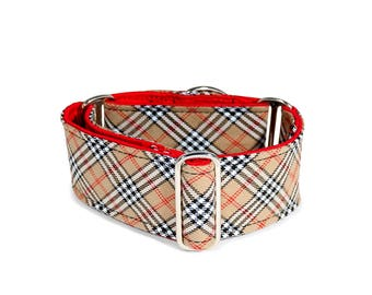 Matingale collar/ greyhound collar/ sighthound collar/lurcher/whippet/ sand tartan/ dog collar/accesory/ checkered pattern/ safe walk.