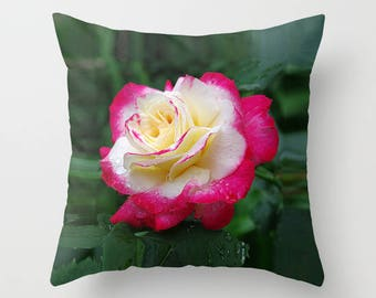 Rose throw pillow OR pillow cover | nature inspired living room, bedroom, home decor, nature lover gift