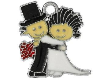 2 or 4 or 10 pcs. Silver Tone Enamel Wedding Couple Charm - 24 mm X 22 mm