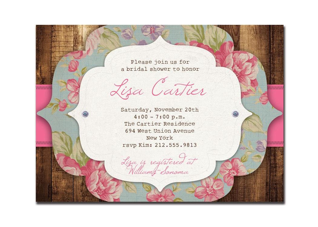Rustic bridal shower invitation rose baby shower rustic zoom filmwisefo Gallery