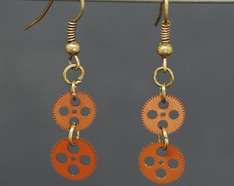 Steampunk Jewelry- Upcycled Brass & Brown Clock Gear Earrings, Steampunk Gear Earrings, Steampunk Earrings by Tanith Rohe