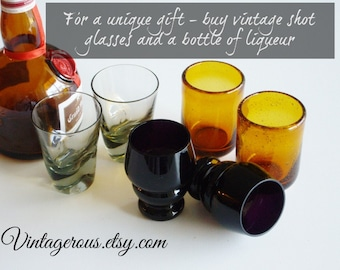 Vintage Shot Glass Collection, hand blown, set of 6, great for entertaining, instant collection, man cave, retro bar