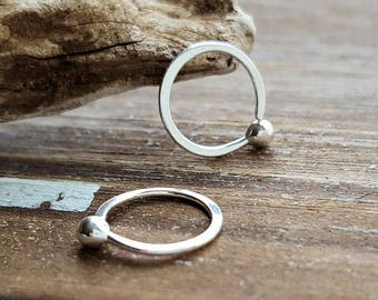Fine Silver Hoops, 20g Earrings, Cartilage, Helix, Nose Rings, Artisan Jewelry - 6mm, 7mm, 8mm, 9mm, 10mm