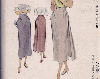 Vintage 1940's McCall's Pattern 7738 for MissesWrap around Skirt with pocket.  Waist 28
