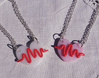 Heart lines necklace earrings menhera yamikawaii