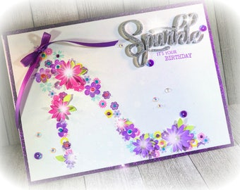 6 x 8 purple, sparkle Birthday card Made to Order