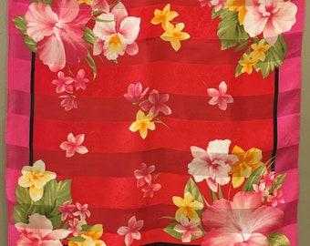 Oscar De Le Rental Hot Pink Floral Silk Scarf, Hibiscus scarf, Small Tropical Silk Scarf