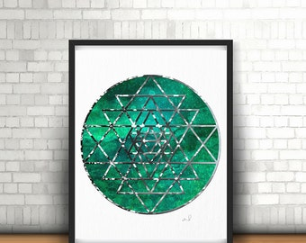 Spiritual Wall Art, Sacred Geometry, Mandala Art Print, Yoga Studio Decor Zen Wall Art Buddhist Art Mandala Illustration Hindu Decor New Age