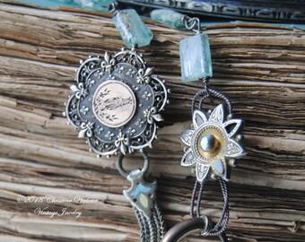 Marie Et Fleur--Antique French Holy Mary Brooch Roman Glass Victorian Enamel Watch Slide Tassel Charm NECKLACE