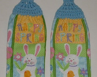 2 Easter Bunny Hanging Crochet Top Kitchen Dish Towel Button Blue Handmade