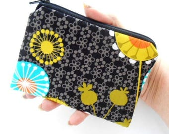 Zipper Coin Purse Zipper Pouch Little Padded Coin Purse ECO Friendly NEW Posey on Black