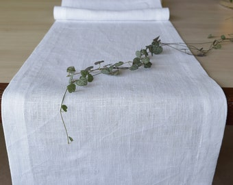 White Pure Linen Table Runner 120 Inch Extra Long Dining Table Scarf Party  Table Linens Wedding
