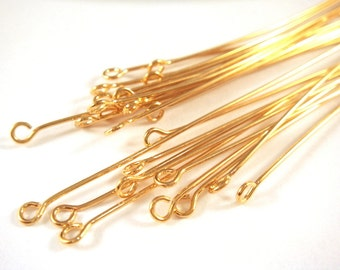 25 Eyepins 4 inch Gold Plated Brass (10.1cm), 21 Gauge - 25 pc - F4002EP-G425