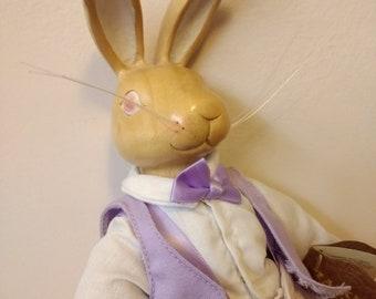 Applause Robert Raikes Originals bunny rabbit doll collectible wooden Mr. Hopkins 1991