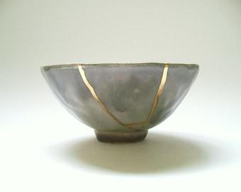 Kinstugi Inspired Bowl in Drippy Ombre Gray, ceramic pottery, kintsukuroi inspired, wabi sabi, pinch pottery, gold