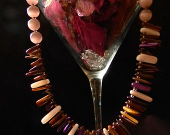 Purple Multi-color Glass Bead Necklace