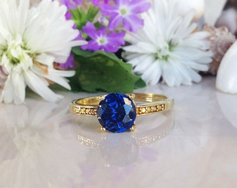20% off-SALE!! Sapphire Ring - Gold Blue Ring - Gemstone Ring - Royal Blue Ring - Stacking Ring - Engagement Ring - September Birthstone
