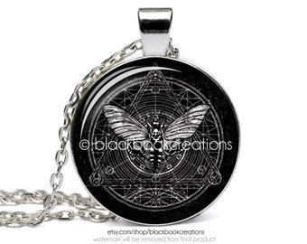Sacred Geometry Death's Head Moth Necklace -  Handmade