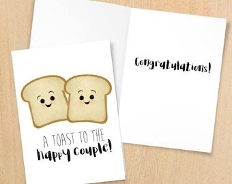 A Toast To The Happy Couple - Digital 5x7 Printable Folded Card - Size When Opened Is 10x7 - Wedding Anniversary Engagement Congratulations
