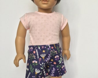 Girl doll shorts, Pull on shorts, Pretty shorts, Summer pants, Summer clothes, Optional t-shirt, Sewn to fit like American.Girl doll clothes