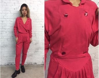 vintage 80s double breasted jumpsuit / hot pink cotton blend playsuit / pleated slouchy one piece