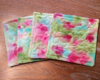 Set of 4 hand painted artisan pink, green and blue quilted coasters