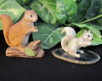 Squirrel Figurines, vintage, animal, squirrel, agate, trees