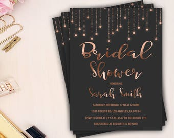 rose gold bridal shower invitation, blush bridal shower invitation, printable invite, gold foil, chic bridal shower invite, bridal brunch
