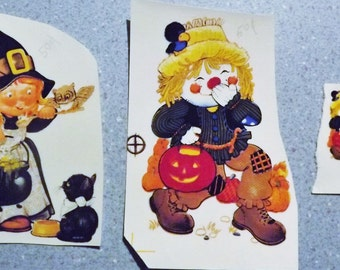 Cute Vintage Water Mount Decals - Halloween Characters - Witch and Scarecrow - Set of 2 Plus a Tiny Identical Scarecrow Decal