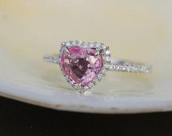 Pink heart sapphire engagement ring. White gold engagement ring. 1.02ct Heart shape sapphire 14k white gold diamond ring.