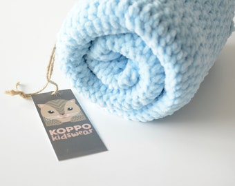 Very soft hand crochet baby blue blanket. Baby Boy blanket