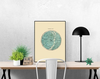 Star Map Print Constellations Northern Hemisphere Astronomy Poster