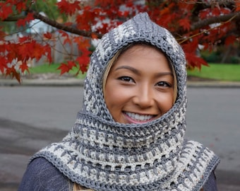 Hooded Scarf in Buff Fleck and Charcoal Gray