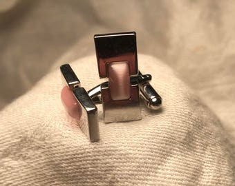 Rose quartz cuff links