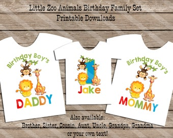 Zoo Animals Birthday Theme Family Set Digital Printables for iron-ons, heat transfer, Scrapbooking, Cards, Tags, Invitations, DIY YOU PRINT