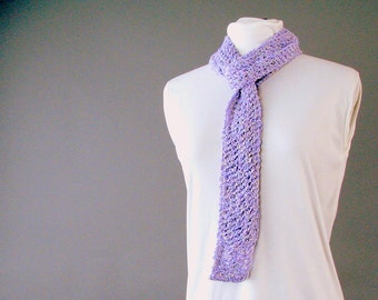 Lavender Fashion Scarf - Handknit Cotton Lace Summer Scarf - Skinny Accent Fashion Neckwear