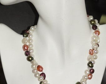 Ref.057/ White and pastel freshwater 2 strand torsade pearl necklace.
