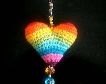 Crochet heart. Rainbow crochet heart. Amigurumi heart. Red crochet keychain. Key chain heart. Blue key chain.