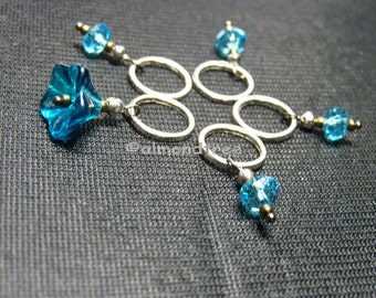 Blue, flower and bead, knitting stitchmarkers id1330680, yarn stitch marker, snagfree, snagless, diy supply, gift for knitter
