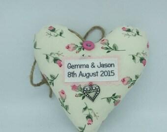 2nd Cotton Wedding Anniversary Heart Keepsake, Homemade Gift, Keepsake, Celebration, Personalised Fabric Heart