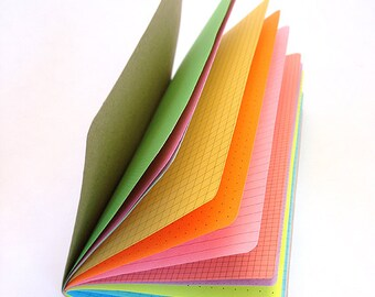 Multi-color Rainbow Traveler's Notebook Insert  - Choice of 8 sizes