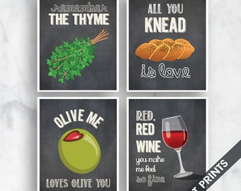 The Thyme, Knead Love, Olive You, Red Wine (Funny Kitchen Song Series) Set of 4 Art Prints (Featured in Vintage Chalkboard) Kitchen Art